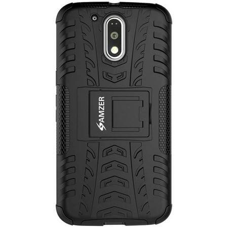 Amzer Impact-Resistant Hybrid Warrior Case for Motorola Moto G4 Plus, Moto G Plus 4th Gen XT1642/XT1643, Moto G4 Plus XT1644, Black/Black -  98566