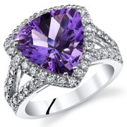 3.75 Ct Amethyst Engagement Ring in Rhodium-Plated Sterling Silver