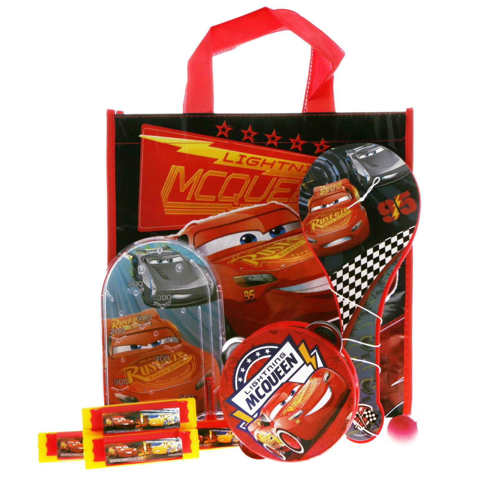 Disney Pixar Cars Toys Bundle Tote Bag Pinball Paddle Ball Musical Toys