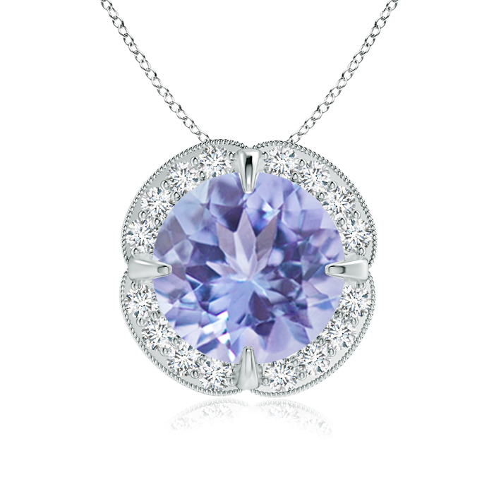 Mother's Day Jewelry Necklace Claw Set Tanzanite Clover Necklace Pendant with Diamond Halo in 950 Platinum (9mm... by Angara.com