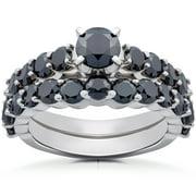 2 ct tdw black diamond engagement wedding ring set 14k white gold treated - Black Diamond Wedding Ring