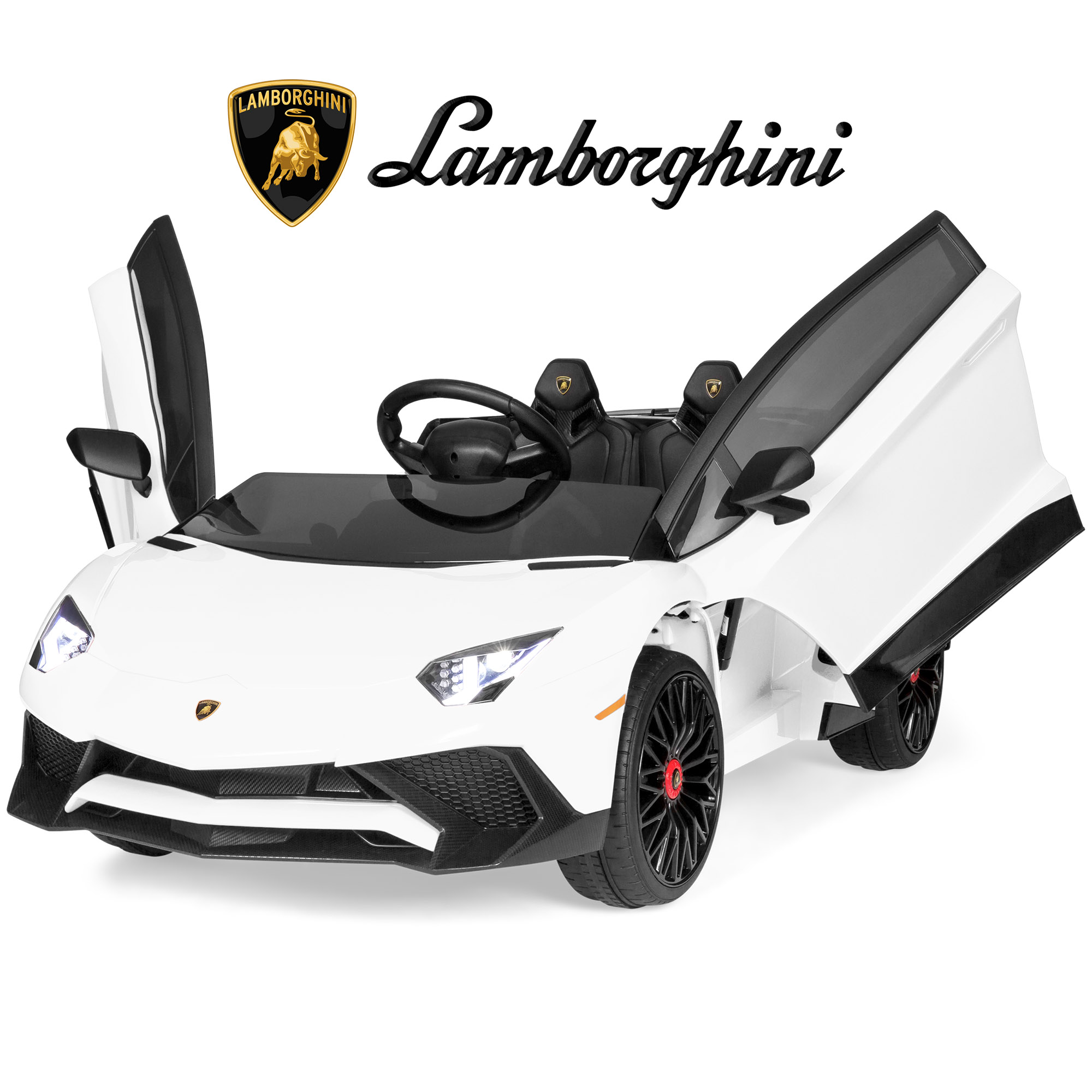 Best Choice Products Kids 12V Ride On Battery Powered Vehicle Lamborghini Aventador SV Sports Car Toy w/ Parent Control, AUX Cable, 2 Speed Options, LED Lights, Music, Horn - White