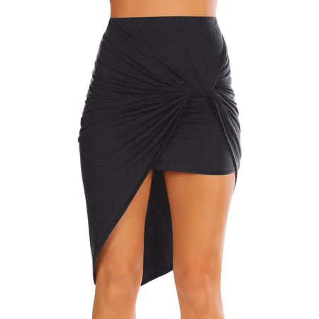 Womens Charcoal Drape Up Stretchy Asymmetrical High Low Short Mini Bodycon Pencil - Windy Skirts Up