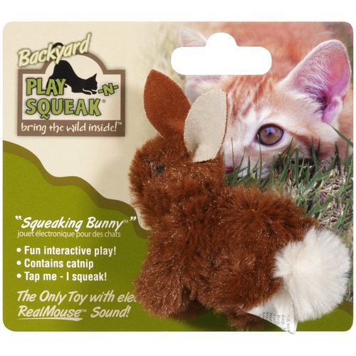Our Pet's Play-N-Squeak 1010010782 Backyard Bunny Cat Toy, 2-1/2 Inch