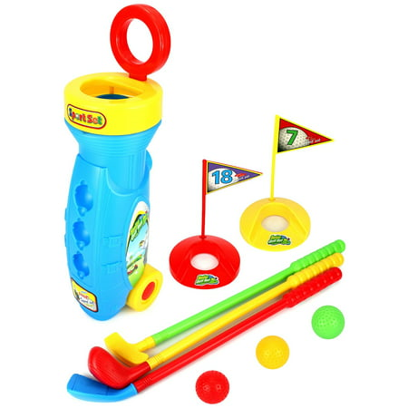 Velocity Toys Golf Master Sport Children's Kid's Toy Golf Play Set w/ 3 Balls, 3 Clubs, 2 Practice Holes, 2 Flags