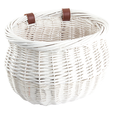 Sunlite Willow Bushel Strap-On Basket, 8x13x9in, White