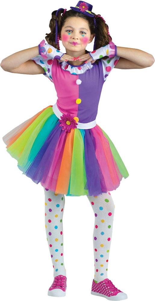 kids girls clown clownin around tutu rainbow cirus big top halloween costume walmartcom