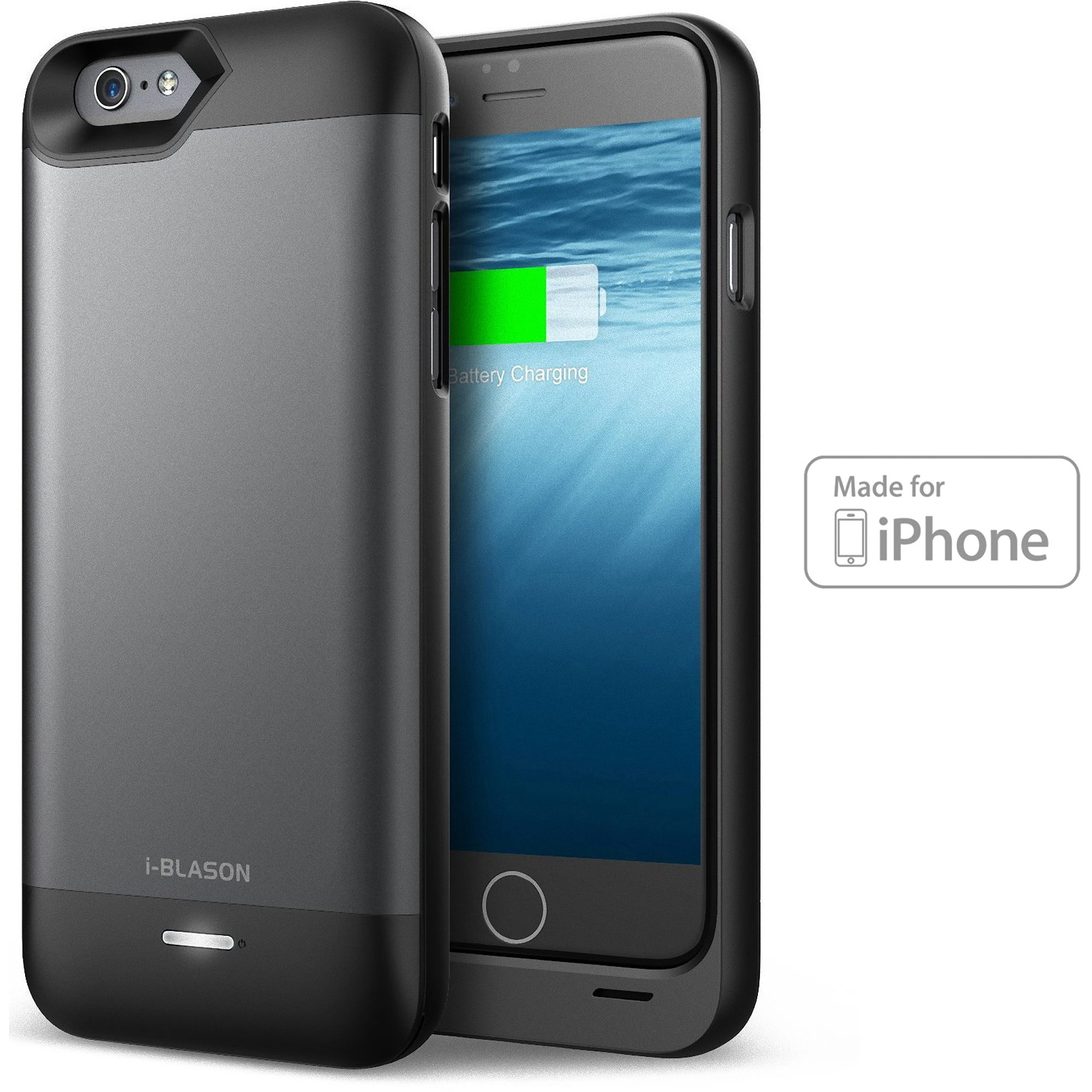 i-Blason Unity Series 3200mAh Ultra-Slim External Battery Case Power Pack for Apple iPhone 6 & 6S (MFI certified), Black/Grey