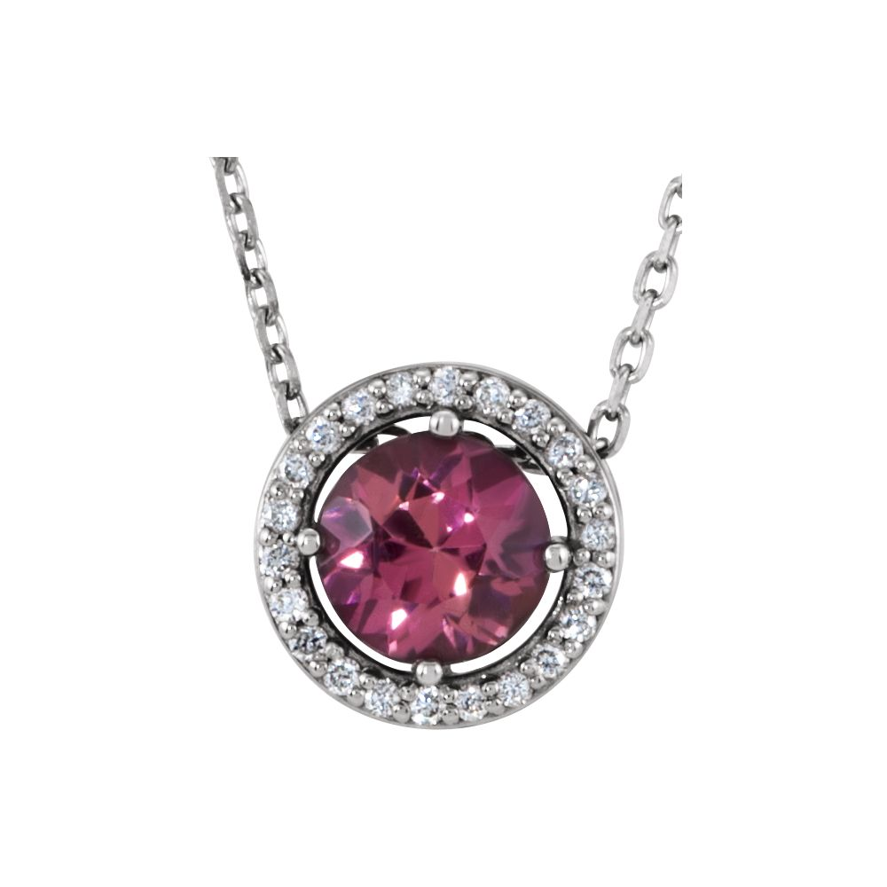 "Platinum Pink Tourmaline and Diamond Halo Pendant 16"" Necklace by"