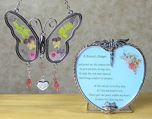Nurse Gift Set Butterfly Suncatcher with Pressed Flower Wings u0026&; Candleholder - Gifts for Nurses  sc 1 st  Walmart & Nurse Gift Set Butterfly Suncatcher with Pressed Flower Wings u0026amp ...