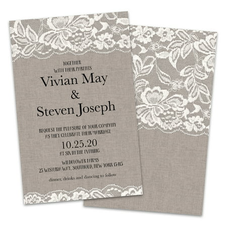 Personalized Burlap and Lace Wedding Invitations (Teapot Invitations)