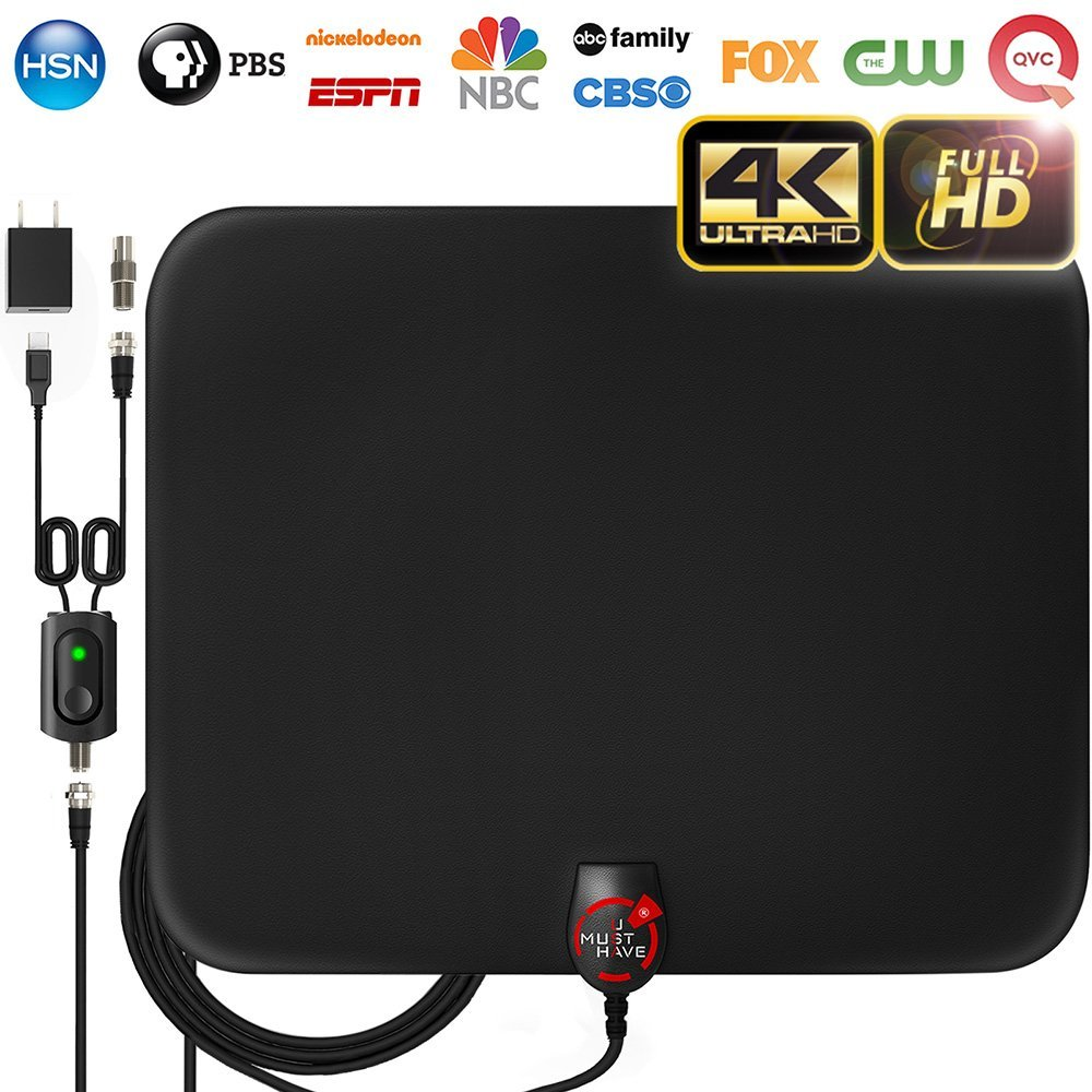 [NEWEST 2018] Amplified HD indoor Digital TV Antenna with Long 60-80 Miles Range , Support 4K 1080p & All Older TV's for Indoor with Powerful HDTV Amplifier Signal Booster - 12ft Coax Cable