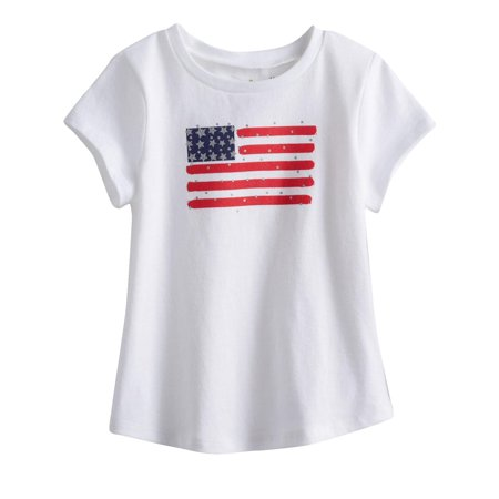 Infant Girls White Patriotic T-Shirt Tee Rhinestone Flag 4th July Tee Shirt (Girls Rhinestone Tee)