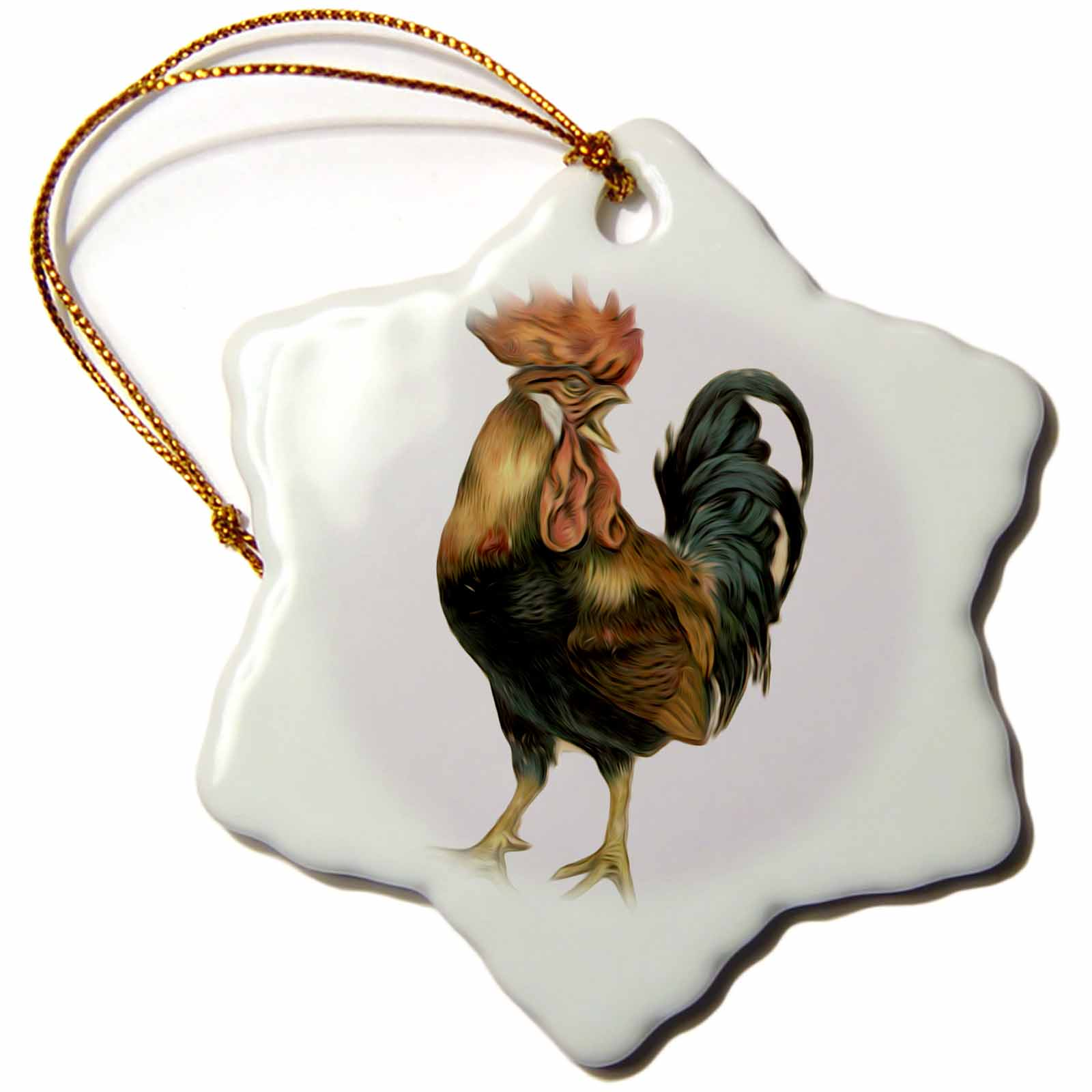 3dRose Vintage Antique Bird Illustration Cock Rooster Chicken, Snowflake Ornament, Porcelain, 3-inch