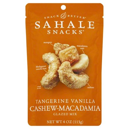 Sahale Tangerine Vanilla Cashew And Macadamia Nuts Glazed, 4 Ounce (6 Pack)
