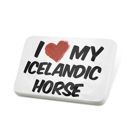 Love Icelandic Horse - Porcelein Pin I Love my Icelandic Horse Lapel Badge – NEONBLOND