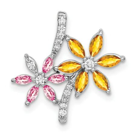 KIOKORI 14K White Gold Diamond and Citrine/Pink Tourmaline Flower Pendant 1 1/10-Carats