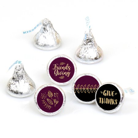 Elegant Thankful for Friends - Friendsgiving Thanksgiving Party Round Candy Sticker Favors - Labels Fit Hershey's Kisses