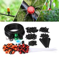 KINGSO Drip Irrigation Watering Kit Self Watering Outdoor Garden Hose Kits for Plant Watering Included 49 Feet Tubing Connectors Hole Puncher Atomizing Nozzle Mister Dripper