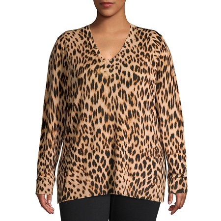 Plus Leopard-Print V-Neck Wool Sweater (Dkny Plus Size Hooded Wool Blend Babydoll Coat)