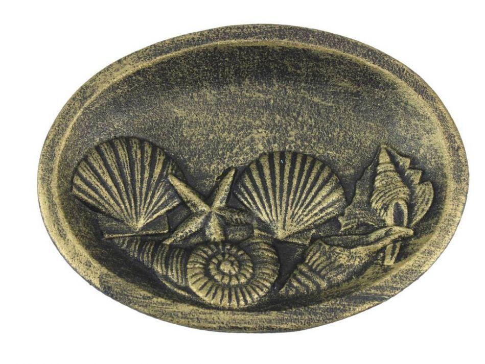"Antique Gold Cast Iron Decorative Seashell Bowl 8"" Seashell Home Decor Sea Theme Decoration by Handcrafted Nautical Decor"