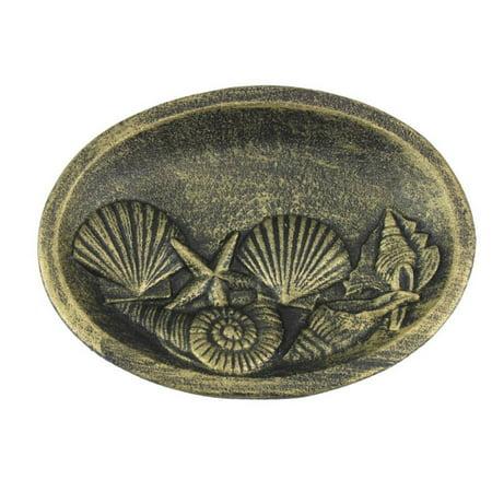 Antique Gold Cast Iron Decorative Seashell Bowl 8