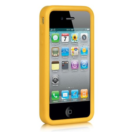 Insten Premium Silicone Skin Gel Back Soft Case Cover For Apple iPhone 4 / 4S - Yellow ()