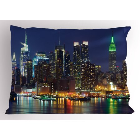 Party City Midtown Nyc (New York Pillow Sham NYC Midtown Skyline in Evening Skyscrapers Amazing Metropolis City States Photo, Decorative Standard Queen Size Printed Pillowcase, 30 X 20 Inches, Royal Blue, by)