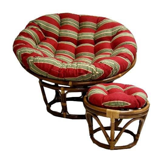 Round Outdoor Papasan Cushion (46 in., Black/Green Floral)