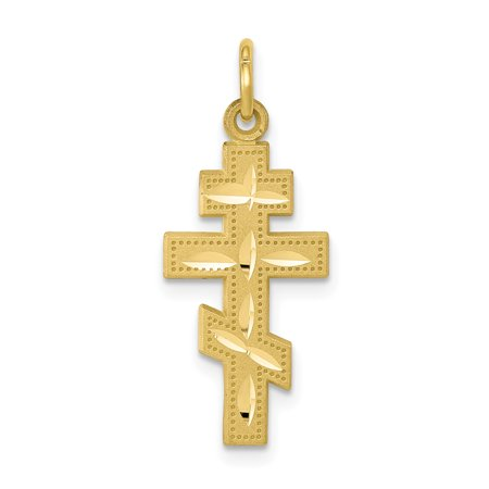 10k Yellow Gold Solid Flat Backed Eastern Orthodox Cross Religious Pendant Charm Necklace Gifts For Women For Her