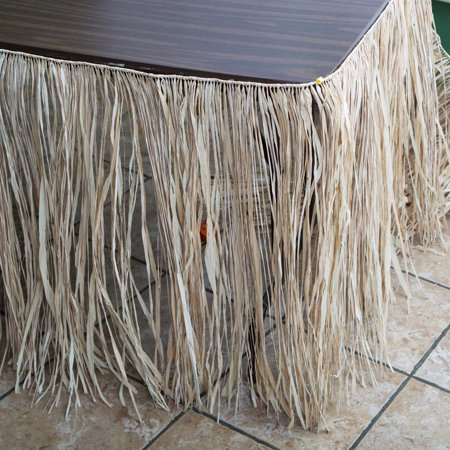 Deluxe Natural Raffia Table Skirt - Raffia Table