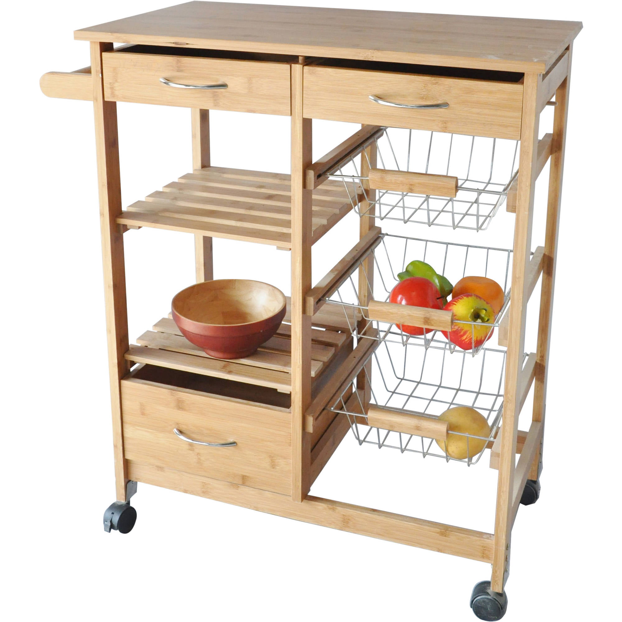 Costway 4 Tier Rolling Wood Kitchen Trolley Island Cart Storage