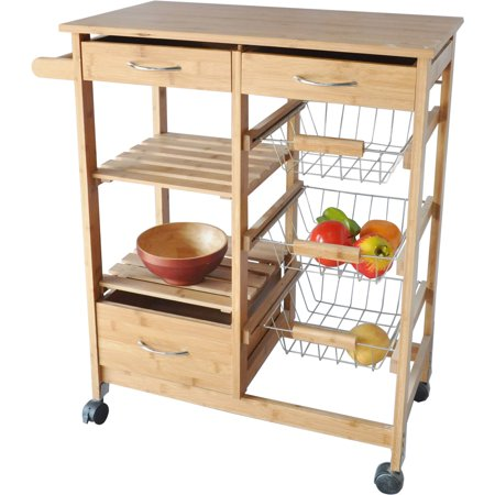 Bamboo Wood Kitchen Cart
