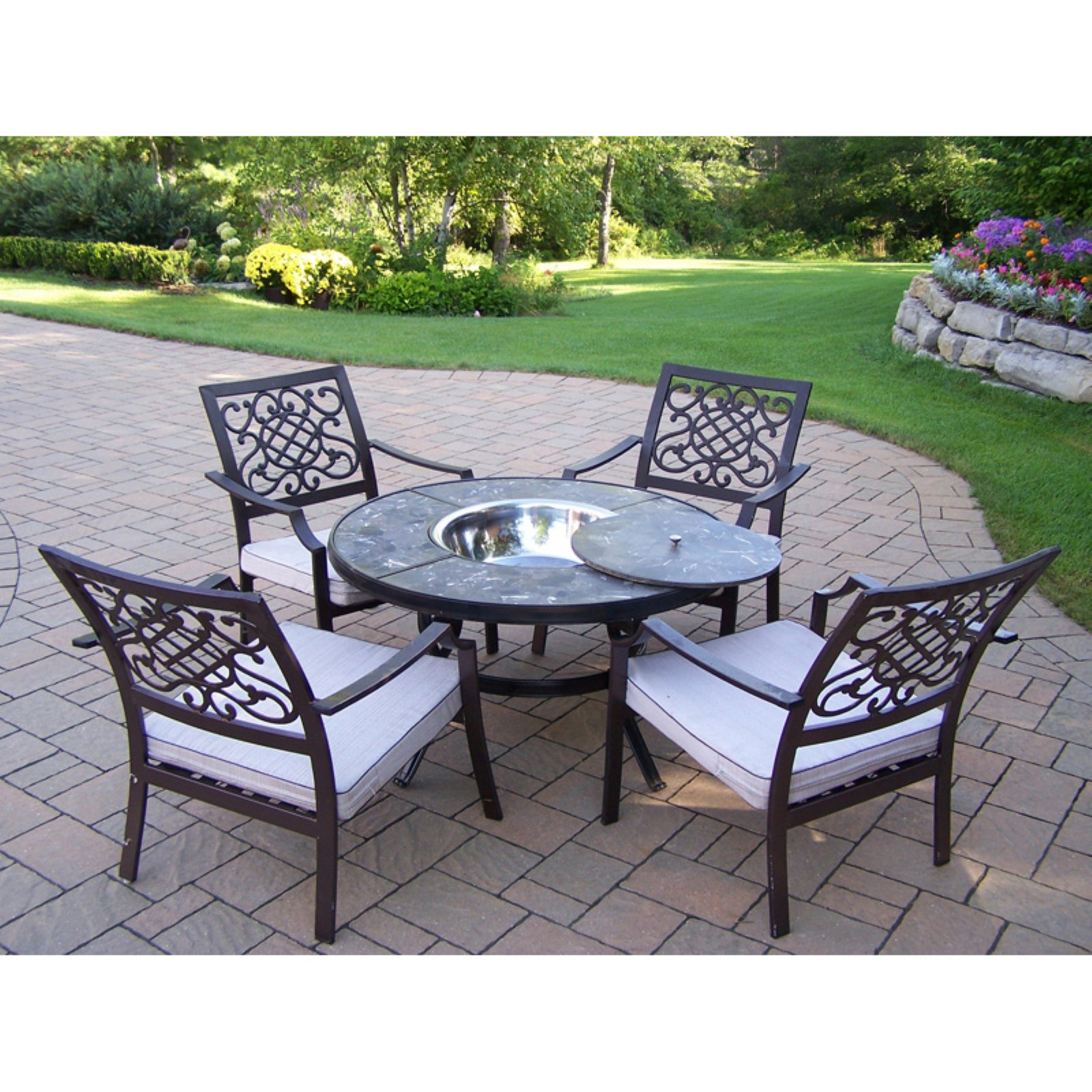 Oakland Living Stone Art 44 in. Deep Seating Chat Set