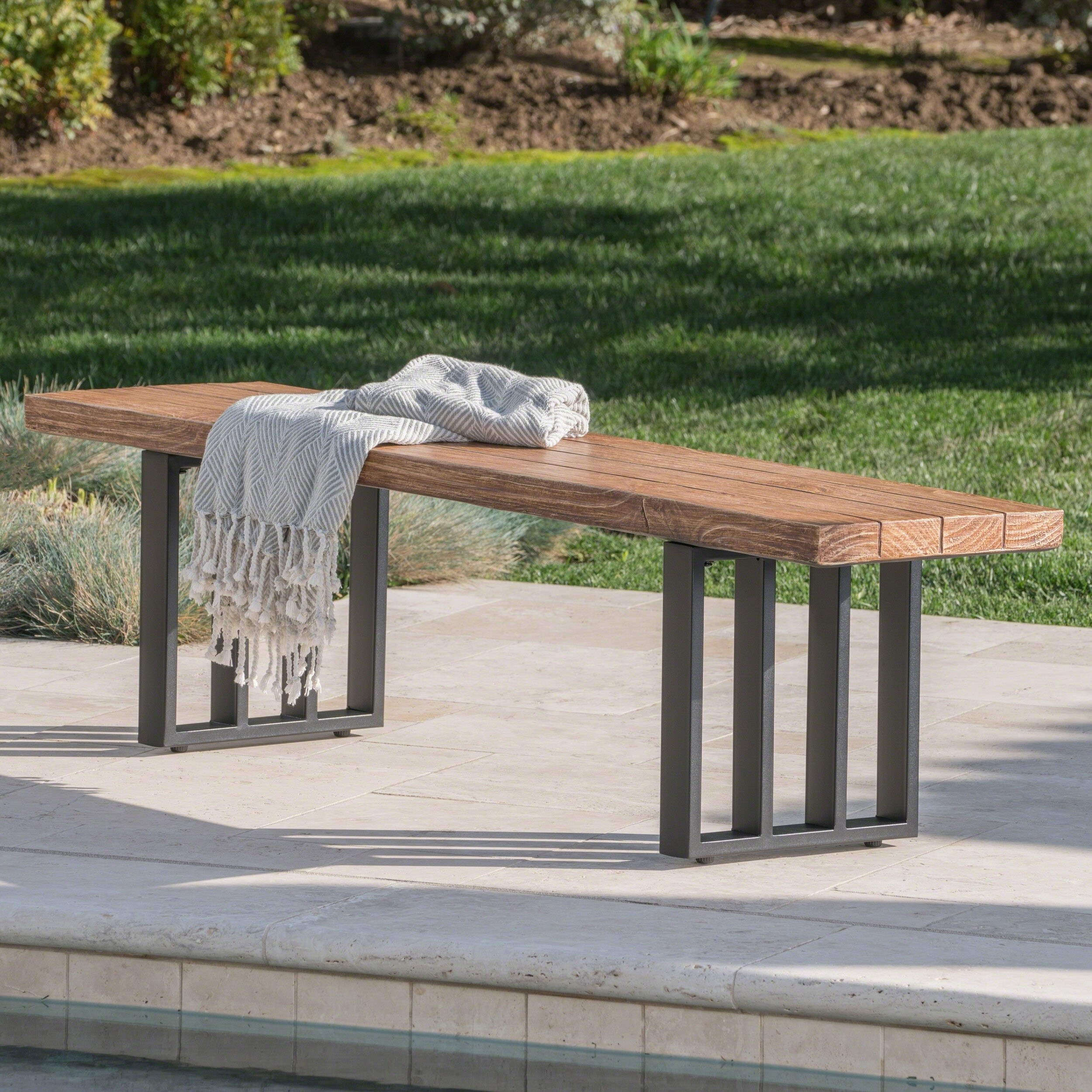 Christopher Knight Home Kantor Outdoor Rectangle Light-Weight Concrete Dining Bench by