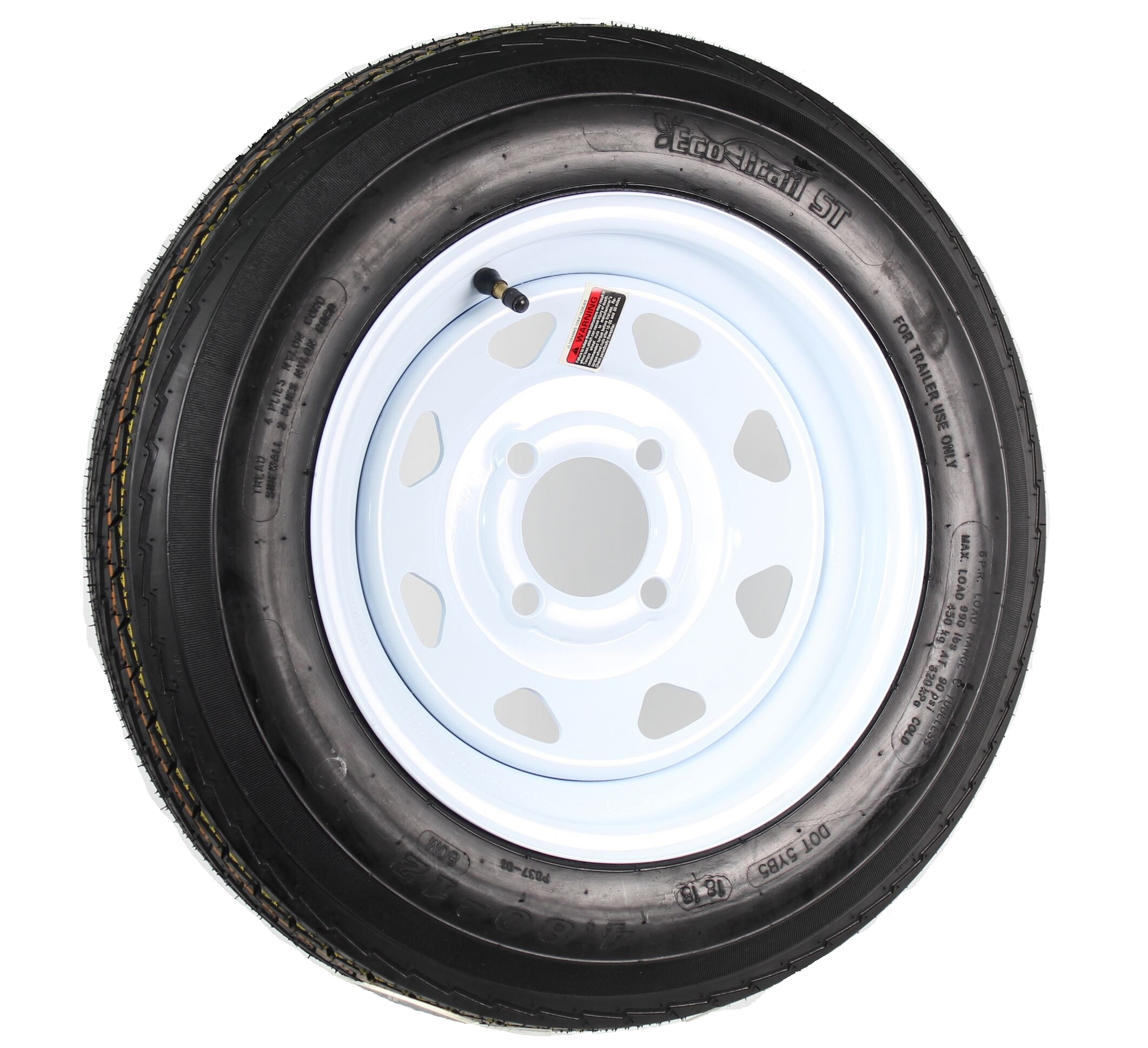 LRB 5 Lug Wheel White Spoke Trailer Tire On Rim 4.80-12 480-12 4.80 X 12 12 in