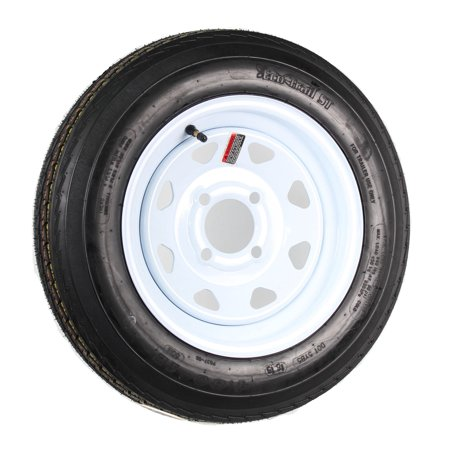 Trailer Tire On Rim 4.80-12 480-12 4.80 X 12 12 in. LRB 4 Lug Wheel White Spoke