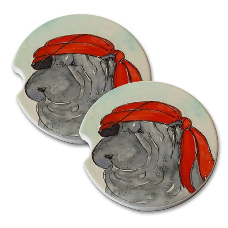 KuzmarK Sandstone Car Drink Coaster (set of 2) - Blue Chinese Shar-Pei Pirate Dog Art by Denise Every - Copy