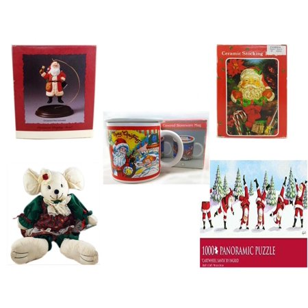 Christmas Fun Gift Bundle [5 Piece] - Hallmark Ornament Display Stand - Vintage Designed Stocking Hanger Santa - Treasury of Gifts 11 Oz. Covered Stoneware Mug -  Collection Linen  Mouse Doll  11