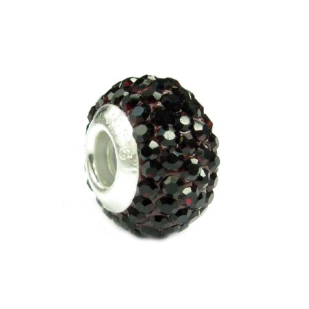 Queenberry Sterling Silve Simulated January Birthstone Round Deep Red Crystal Bead fits Pandora European Charm Bracelets (Crystal Pandora Charms)