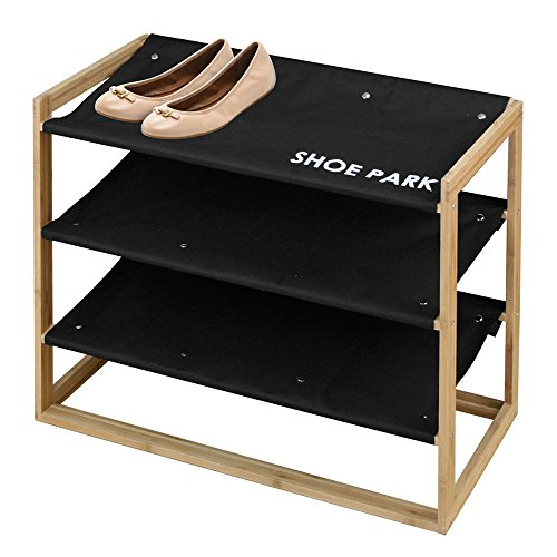 Eco Friendly Bamboo Wood 3-Tier Shoe Rack And Tower, with Machine Washable Shelves by Great Useful Stuff