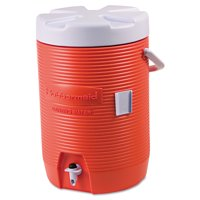 """Rubbermaid Commercial Insulated Beverage Container, 3gal, 11"""" dia x 16 7/10h, Orange/White"""