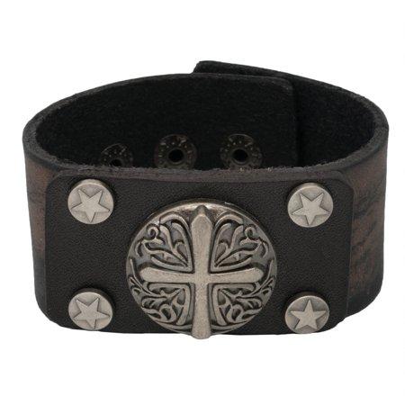 Crusade Cross Black Leather Cuff Bracelet