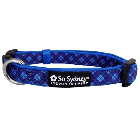 Plaid Blue - Designer Cute Matching Dog Collar and Leash - Preppy Pup Collection