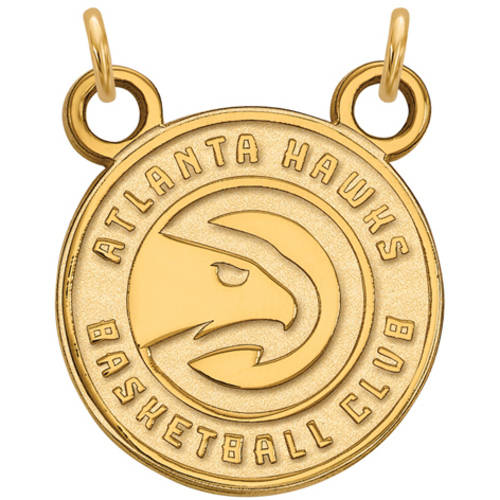 LogoArt NBA Atlanta Hawks 10kt Yellow Gold Small Pendant with Necklace