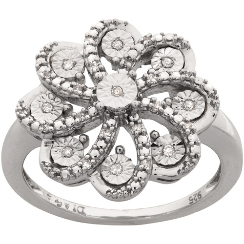 Diamond-Accent Flower Ring in Sterling Silver, Size 7