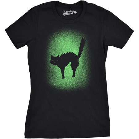 Womens Glowing Cat Glow In The Dark Cool Halloween T Shirt Funny Kitty Tee](Glow In The Dark Bodysuit)