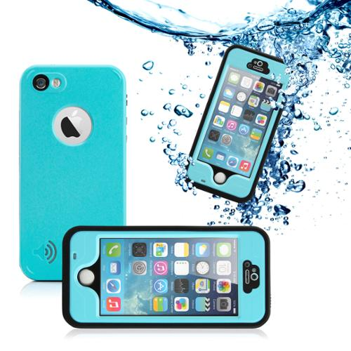 GEARONIC Durable Waterproof Shockproof Snow DirtProof Fingerprint Scanner Full Case Cover for Apple iPhone SE & 5 5S - Sky Blue