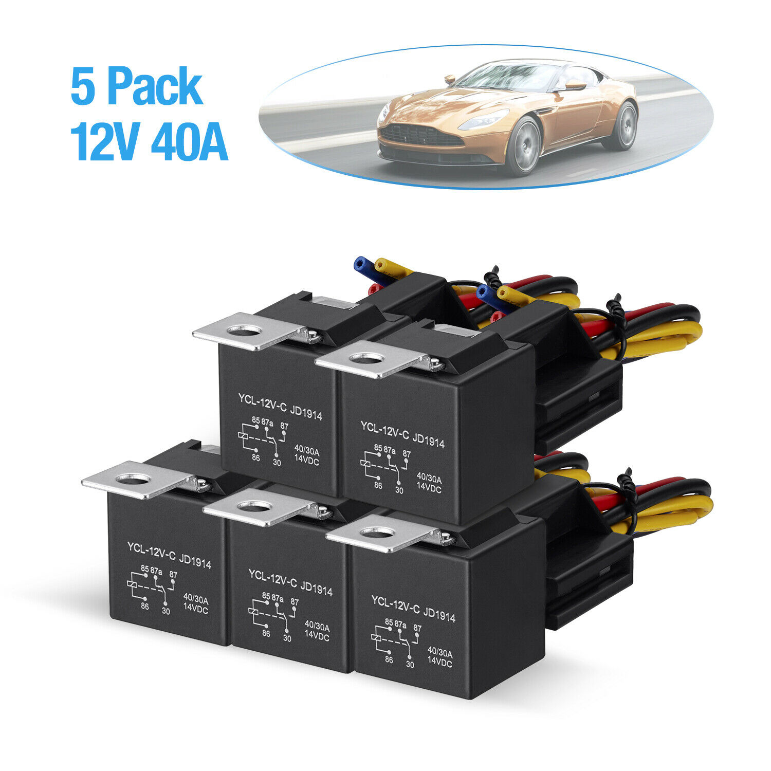 5 Pack Dc 12v Car Spdt Automotive Relay 5 Pin 5 Wires W