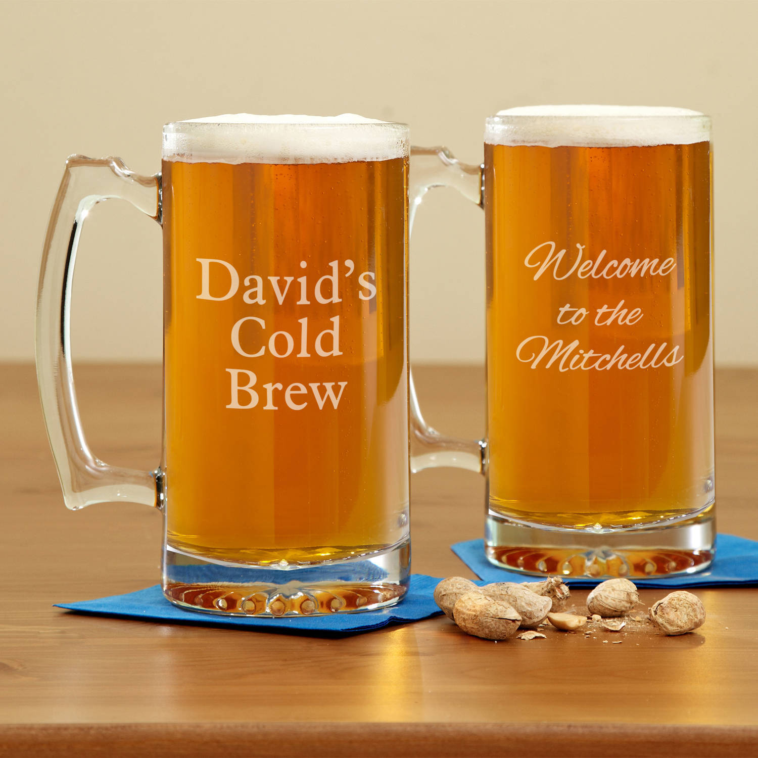 Personalized Create Your Own Oversized Beer Mug, Choose Block or Script